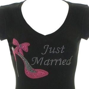 JUST MARRIED RHINESTONE TEES   JUST MARRIED TANK